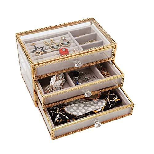 Preisvergleich Produktbild SMEJS Schmuck-Box for Frauen mit 3 Schubladen,  Velvet Schmuck Organizer for Ohrring-Armband-Armband-Halskette und Ringe-Speicher löschen Schmuckkasten