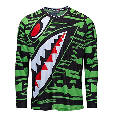 Cycling Jersey Men Long Sleeve MTB Motorcycle T Shirt Bike Bicycle Clothes Breathable Shark Green Size XL