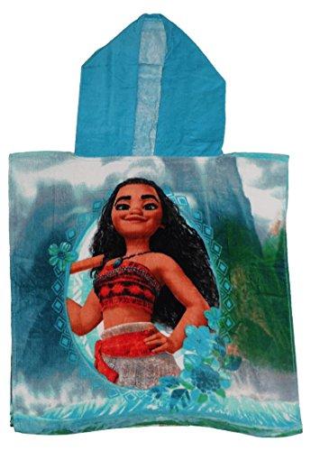 Disney - Toalla tipo poncho para niños, diseño de Vaiana, con licencia oficial de Disney, algodón, Turquesa, 50 x 50 CMs