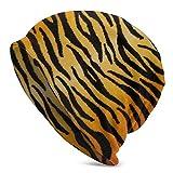 Animal Print Tiger Black Gold Gorro de Punto para Hombres Adultos: Gorro Diario deliciosamente Suave en Punto Fino, Gorra, pasamontañas, Medio pasamontañas