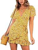 AIMCOO Vestido de Verano para Mujer, Elegante Vestido de Mujer, Estilo Boho, Corte en V, con cinturón y Volantes Vestido (T5, L)