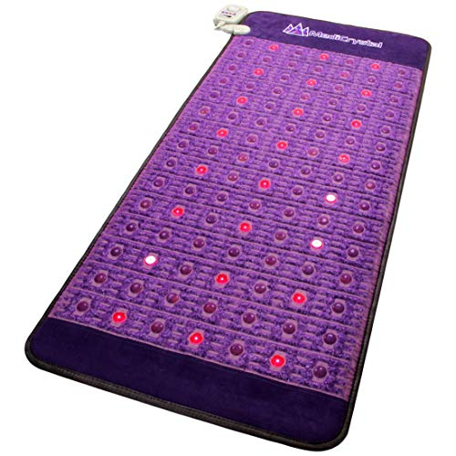 "MediCrystal Far Infrared Amethyst Mat 72'L x 32""W + 81 Natural Agates + 24 Photon Red Lights - Bio Stimulation Therapy for Back Pain - FDA Registered Manufacturer - Professional FIR Heating Pad"