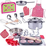 alles-meine.de GmbH 43 TLG. Backset / Kochset - Kinderküche & Koffer - aus Metall - inkl. Name - echte Blech / Töpfe Pfanne - Kochgeschirr - Muffin Backform + Küchenhelfer Löffel..