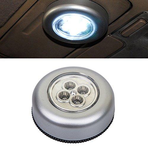 LEDMOMO 4 LED sans fil de lumière de nuit à piles bouton tactile lampe Stick-on lumière pour armoires placards de voiture tronc couloir