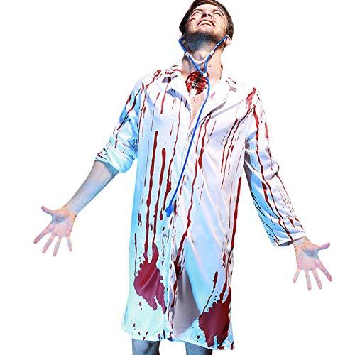 GBYAY Cos Kleidung Mit Stethoskop Halloween Party Anzug Blood Horror Männlicher DoktorHorror Bloody Wear Adult Camisa Masculina