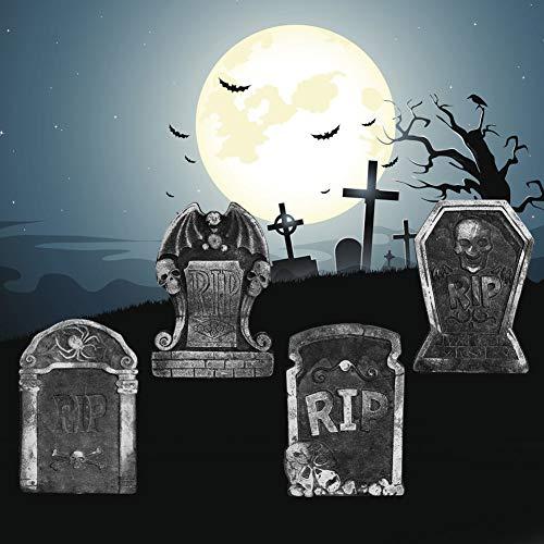 QiruIXinXi 4 Piezas de Adornos de lápidas de Halloween, Decoraciones de lápidas de Espuma de simulación vívida Decorativas para la casa embrujada del Patio