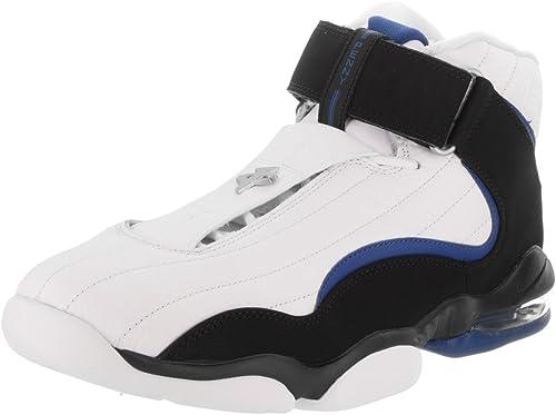Hauszapatos de baloncesto Nike Air Penny IV blanco   negro   azul atl¨¢ntico para hombre 10 hombres US