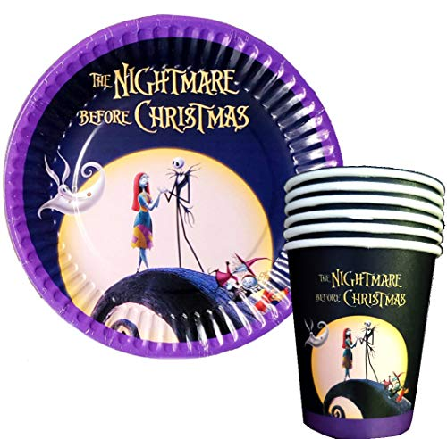 12PC CUP PLATE JACK SKELLINGTON PARTY SUPPLIES DECORATION THEME BIRTHDAY NIGHTMARE BEFORE XMAS CHRISTMAS HALLOWEEN A3