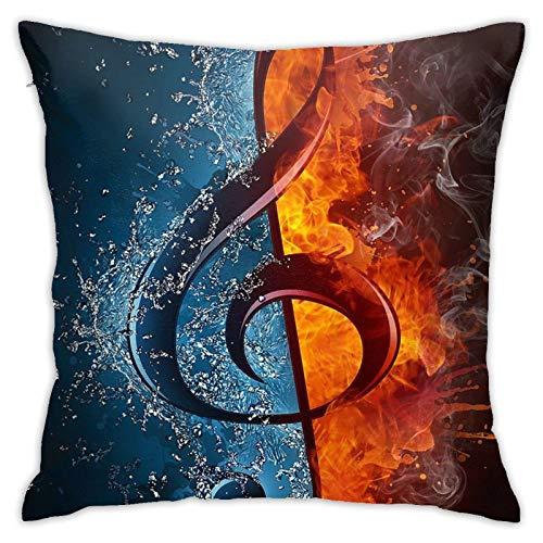 18' Funda Almohada Cuadrado Throw Pillow Case Poliéster Notación Musical Creativos Sofá Fundas Cojines Casa Oficina Coche
