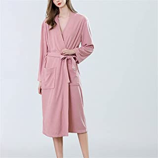 SKREOJF Automne Et Hiver Femmes Grande Taille Robe Longue Pyjama Doux Peignoir Couleur Pure Pyjama De Plage Source Chaude...