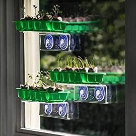 "Window Garden Fiber Soil Seed Starter 11 🍃 SAVE UP TO 20% - COMPLETE GROWING SYSTEM - Get the best deal with a Veg Ledge Bundle! Check them all out at our Amazon store. Multiple sizes, shapes and companion products make Window Gardening Easy, Fun and Productive. This bundle Includes – 3 Veg Ledge's (7.75"" x 5.5""), 3 – 10 Cavity Seed Trays with Dome (10"" x 4""), and 30 - 36 mm Fiber Soil Seed Starters 🍃 THE ORIGINAL DEPENDABLE VEG LEDGE– The first and only dependable window shelf on the market. Unique weight bearing design coupled with powerful double-ridged suction cups adhere reliably to windows, mirrors and smooth tile. Holds up to 10 lbs. ***INSTRUCTIONS MUST BE FOLLOWED***. Clean surface with alcohol wipes and microfiber cloth (included). 🍃 EVERYTHING YOU NEED - No need to buy and store messy bags of soil, or set up complicated lighting in some obscure grow room in your house."