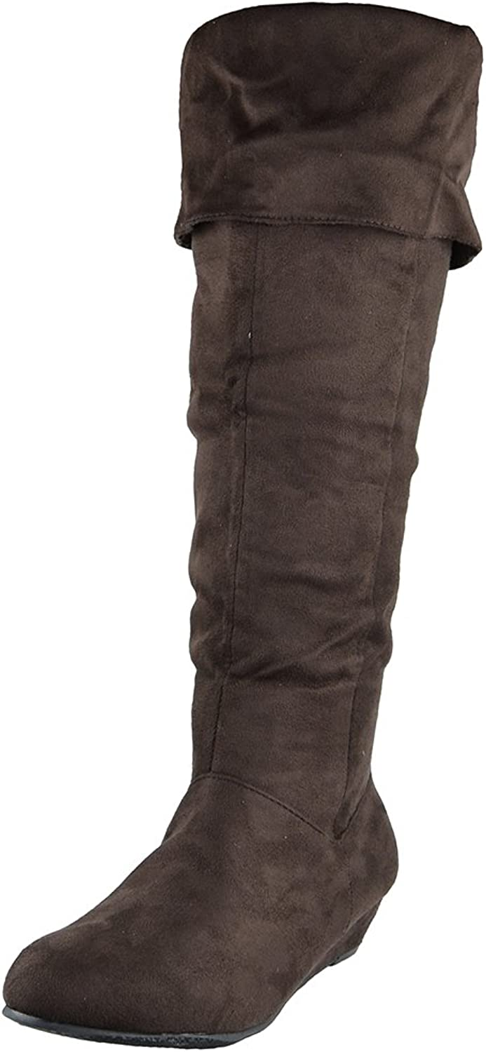 Womens Knee High Boots Fold Over Cuff Flat Comfort shoes