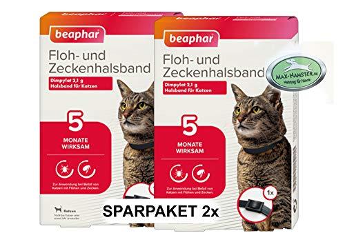 MAX HAMSTER SPARPACK: 2 x Beaphar Ungezieferhalsband/Flohband für Katzen Flöhe + Zecken Weg - Ungezieferband von Beaphar (Flohband) L: 35cm
