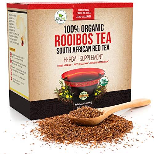Organic Rooibos - 80 Tea Bags - Caffeine Free South African Red Tea Detox