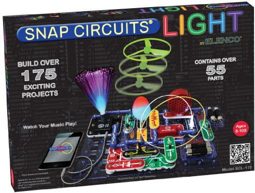 Snap Circuits LIGHT Electronics Exploration Kit | Over 175 Exciting STEM Projects | Full Color Project Manual | 55+ Snap Circuits Parts | STEM Educational Toys for Kids 8+,Multi