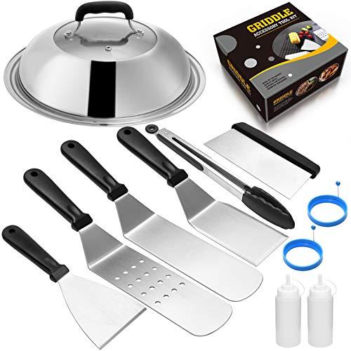 51BT9UOyb4L. SL500  - Grillzubehör-Set, kompatibel mit Blackstone und Camp Chef, flache Oberseite, Grillschaber mit Schmelzkuppel für Kochen im Freien, Teppanyaki, Hibachi, BBQ (Holzgriff)