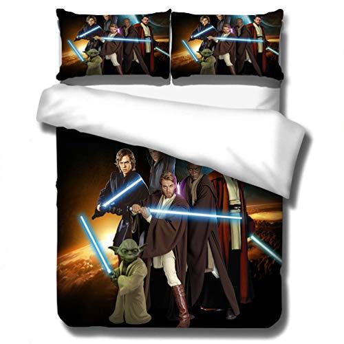 Juego de ropa de cama de DCWE Star Wars, funda de edredón y funda de almohada, microfibra, impresión digital 3D, juego de cama infantil de tres piezas, 05, 135*200CM