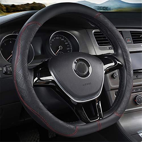 D Type Steering Wheel Cover,Microfiber Leather Breathable Anti-Slip Flat Bottom Shaped Steering Wheel Cover Steering Accessories for Women Men 15inch,Black