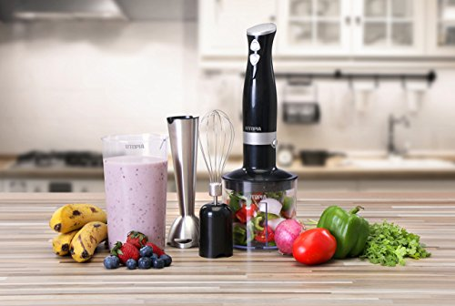 Premium Hand Blender with 8inch Removable Blending Arm - 2 Touch Speed Adjustable - Soft and Non-Slip Handle - by Utopia Home Kitchen
