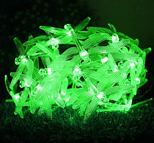 Solar 8 funciones al aire libre impermeable verde libélula forma jardín interior cadena de luz decorativa 20LED