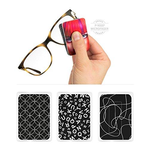 POLYCLEAN 3X PocketCleaner® Brillenreiniger – Praktisches Brillenputztuch & Bildschirm Reinigungstuch – Microfasertuch Made in Germany (12x4 cm, 3 Stück, Black und White)