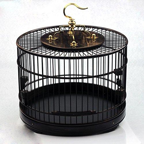 Pet Online En forma de jaula de madera maciza de palisandro ver circular en forma de jaula, negro