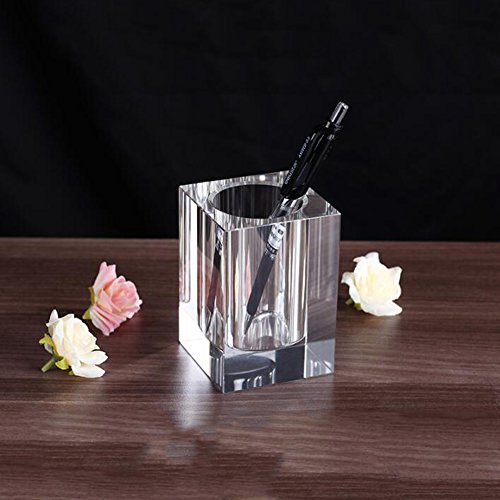 Coideal Glass Crystal Square Pen Pencil Cup Holder Caddy Box for Office Desk Home Bedroom