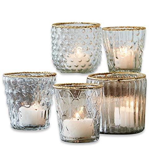 Loberon Windlicht 5er Set Jarnac, Glas, H/Ø ca. 8/8 cm, klar/Gold