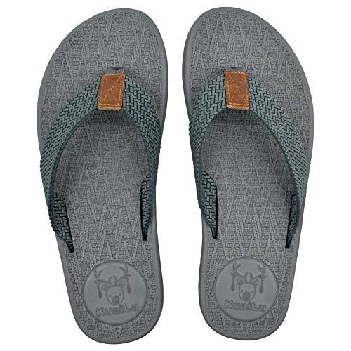 KuaiLu Chanclas Hombre Verano Playa Piscina Comodas Sandalias De Dedo Goma Planas Caminar Flip Flops