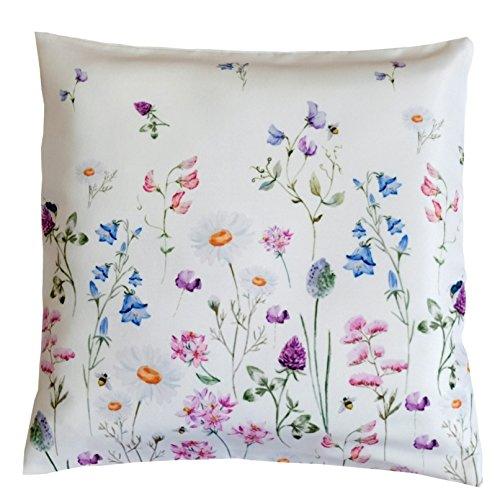 heimtexland ® Kissen mit Reißverschluß Deko Serie Blumen Weiß Bunt Kissenhülle 40x40 Blumenwiese Mehrfarbig Typ520