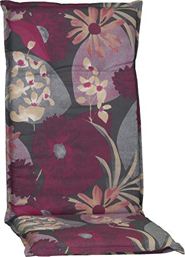 Beo Gartenstuhlauflage Polster Aquarell Blumenmotiv M705 für Hochlehner grau hellgrau beige brombeer