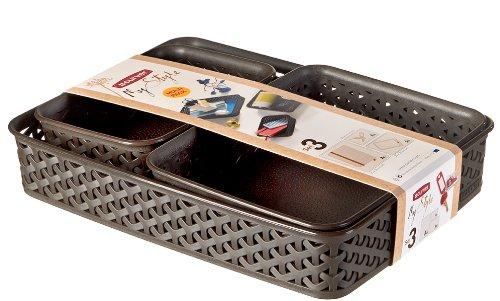 Curver - Set de 3 Bandejas Organizadoras MyStyle A4 + A5 + A6 - Rectangulares - Color Chocolate