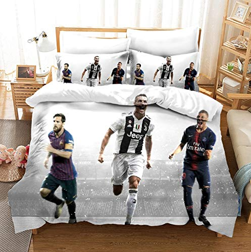 Vampsky 3 Piece Bedding Set Bedspreads Coverlet 100% Cotton For Kids Bedspreads Cute Duvet Covers For Teens 3 Piece Quilt Set Reversible Home Texitile Christmas Bedding, Messi And Ronaldo Mbappé