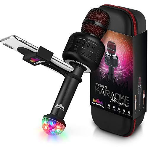 KaraoKing Karaoke Microphone - Wireless, Bluetooth Karaoke Machine for Kids & Adults - Includes Mic with Speaker, Disco Light & Phone Holder - Perfect for Rock n' Roll Parties (E106 2.0 Black)