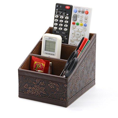 Organiseur pour accessoires de bureau - En cuir, élégant - Boîte de rangement de bureau multifonction pour stylo/crayon, téléphone portable, cartes de visite, télécommande, etc.