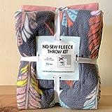 Bohemian Feathers Anti-Pill No-Sew Throw Fleece Fabric Kit (72x60)