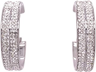 Bevilles Stainless Steel Pave Crystal Hoop Earrings