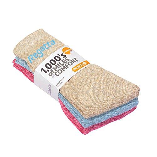 Regatta Damen 3 Socken/Box 48 Mal 3 Paar Polyester Baumwolle gemischt Marl Farben BrightBlushMarl Sgl