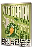 カレンダー Perpetual Calendar Retro Vegetarian Tin Metal Magnetic