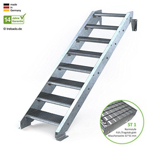 Außentreppe 8 Stufen 60 cm Laufbreite - ohne Geländer - Anstellhöhe variabel von 150 cm bis 180 cm- Gitterroststufe ST1 - feuerverzinkte Stahltreppe mit 600 mm Stufenlänge als montagefertiger Bausatz
