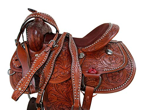 DEEP SEAT Western Saddle Barrel Racing Horse TACK Pleasure Leather Package 15 16 17 (16)