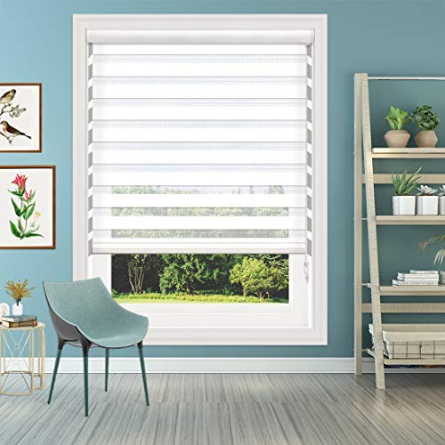 of custom accessories blinds Keego Window Blinds Custom Cut to Size, White Zebra Blinds with Dual Layer Roller Shades, [Size W 34 x H 64] Sheer or Privacy Light Control Corded Blinds
