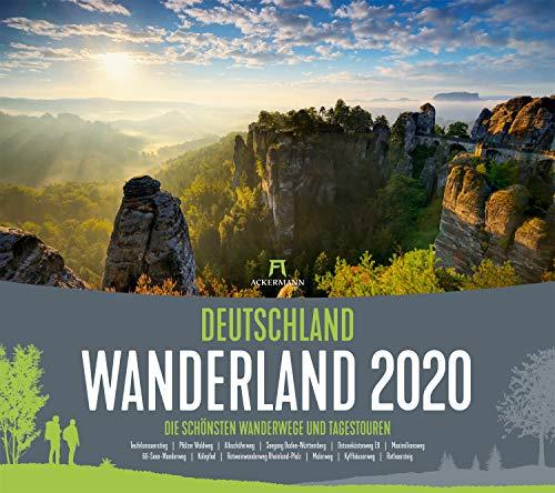 Deutschland Wanderland 2020, Wandkalender im Querformat (54x48 cm) - Naturkalender mit Routenbeschreibung der Wanderwege für Wanderer
