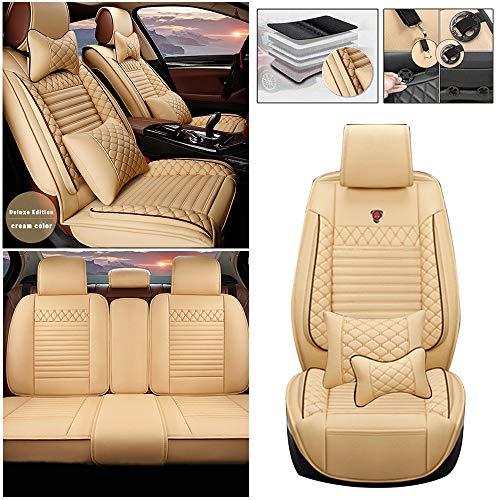Qiaodi Fundas de asiento de coche de cuero sintético de lujo, juego completo de 5 asientos, ajuste para Nissan Armada Altima Dualis Juke Frontier Fuga Leaf Automotive Seat Cover Protector (Beige)