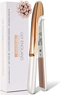 Hair Straightener, Ceramic Flat Iron for All Hair Types - Straightens and Curls, 100℃-230℃ Adjustable Temperature by Lily England, Rose Gold