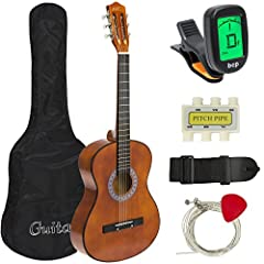 COMPLETE ALL-IN-ONE GUITAR KIT: No need to purchase any additional accessories, this all-inclusive set comes with a pitch pipe, case, black strap with pick holder, extra strings, 6 picks, tuner, and cloth ULTIMATE BEGINNER & INTERMEDIATE GUITAR: This...