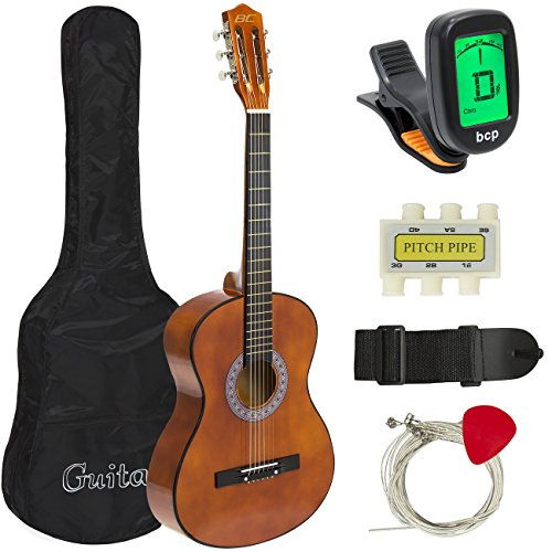 Best Choice Products 38in Beginner Acoustic Guitar Starter Kit w/ Case, Strap, Digital E-Tuner, Pick, Pitch Pipe, Strings - Coffee