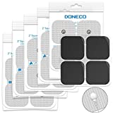 DONECO 2' Square TENS Unit Electrodes, Snap On Pads 12 Pairs (24Pads) Electro Pads for TENS Therapy - Universally Compatible with Most TENS Machine Models - Self-Adhering, Reusable and Premium Quality