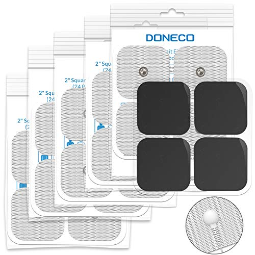 DONECO 2 Square TENS Unit Electrodes, Snap On Pads 12 Pairs (24Pads) Electro Pads for TENS Therapy - Universally Compatible with Most TENS Machine Models - Self-Adhering, Reusable and Premium Quality
