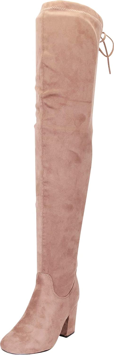 REFRESH Women Faux Suede Jacksonville Mall Max 89% OFF Thigh Boot Chunky Heel High Drawstring
